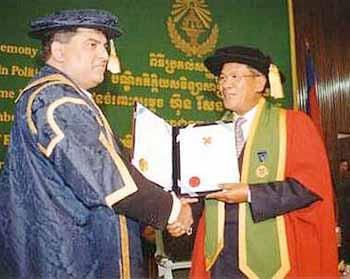 His excellency Samdach Akaek Moha Sena Padei Decho Hun Sen receives an Honarory Ph.D. from the Irish International University (IIU) of the European Union click here for details.
